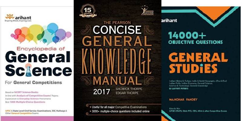 Three books of General Science, General Knowledge and General Studies for UPSC exam.