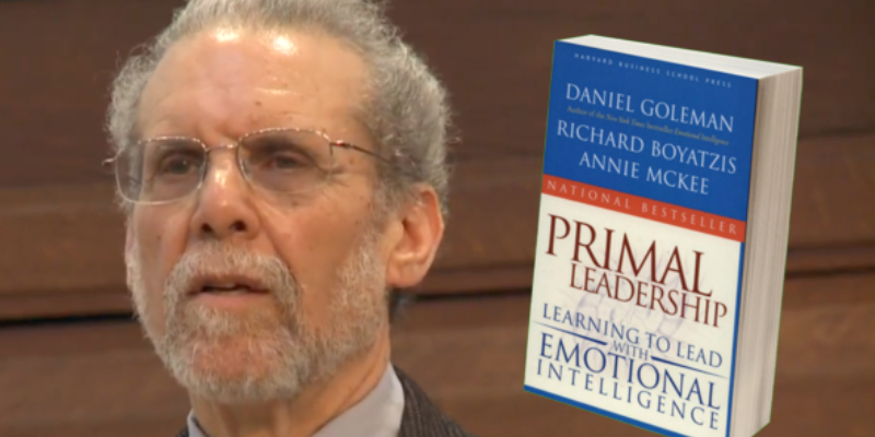 A Book About Business Marketing - Primal Leadership On Display With An Image Of The Author.
