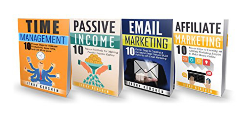 Four Books On Display In A White Background About Online Marketing.