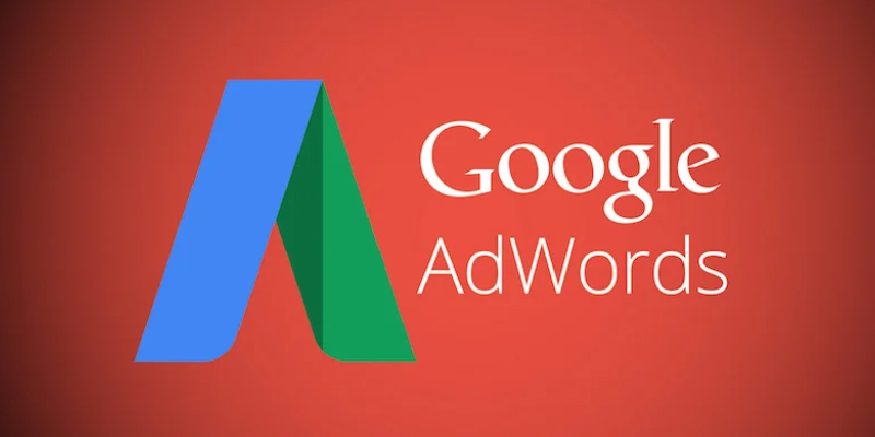 Google Adwords text Written In Red Background With Logo.