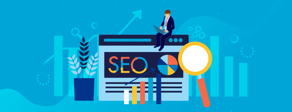SEO Concept Depicting In Blue Background.